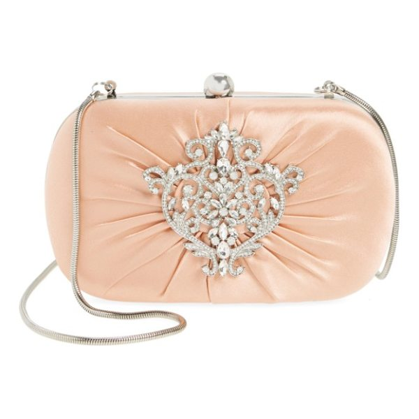 BADGLEY MISCHKA diva satin clutch - A shimmering crystal ornament adds eye-catching elegance to...