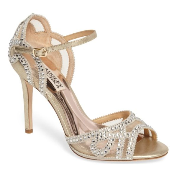 BADGLEY MISCHKA embellished mesh sandal - Slender crystal-embellished straps swirl gracefully at the...