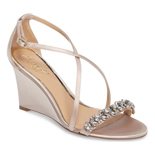 BADGLEY MISCHKA embellished strappy wedge sandal - A celebration of slender curves and outsize sparkle, this...