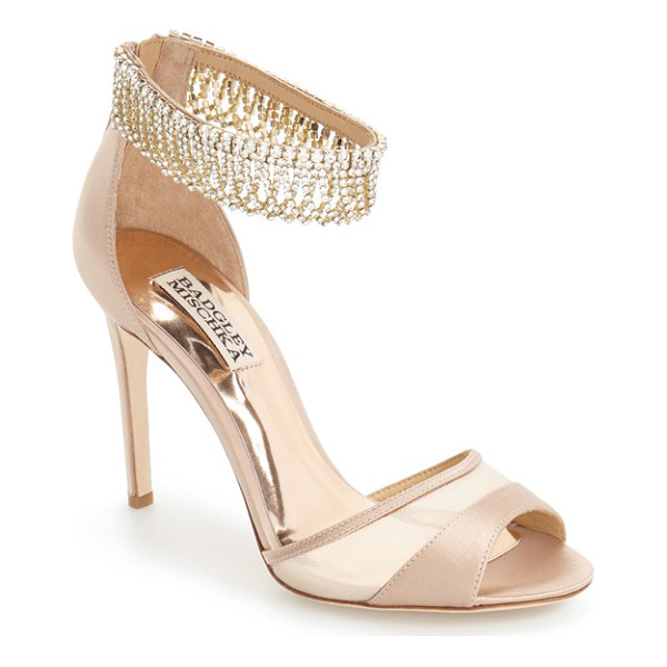 BADGLEY MISCHKA 'gazelle' ankle strap sandal - Polished chains of scintillating crystals sparkle along the...