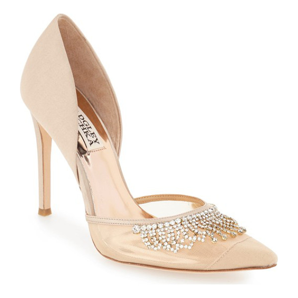 BADGLEY MISCHKA 'genna' embellished d'orsay pump - Peekaboo mesh dripping with radiant sparkle defines the...