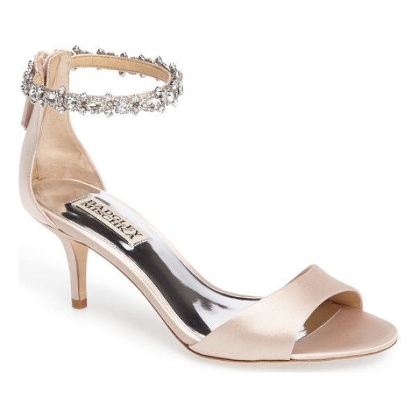 BADGLEY MISCHKA geranium embellished sandal - Dazzling crystals encircle the ankle of an open-toe sandal
