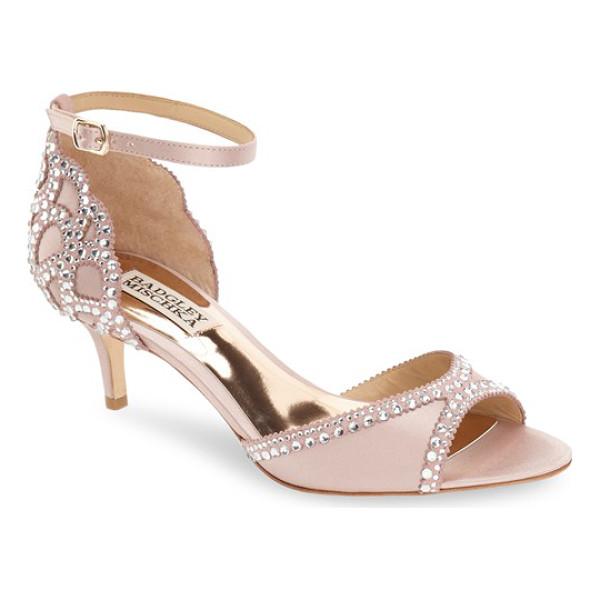 BADGLEY MISCHKA 'gillian' crystal embellished d'orsay sandal - Multi-size crystals curve along the open d'Orsay toe and