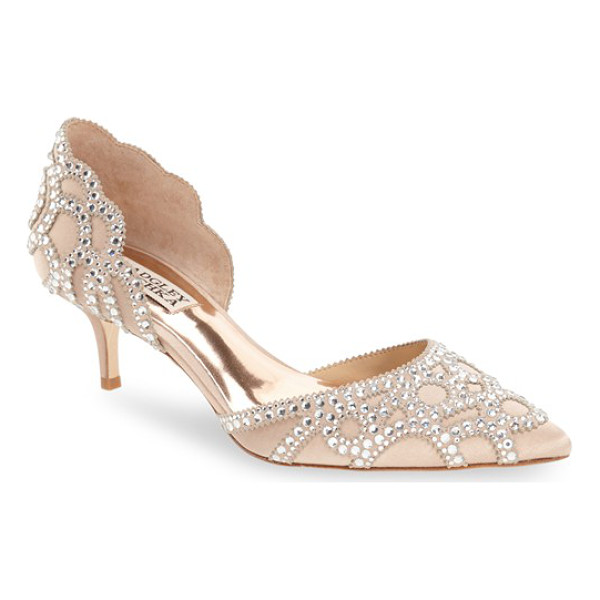 BADGLEY MISCHKA 'ginny' embellished d'orsay pump - Sparkling crystals ornament the scalloped lines of this