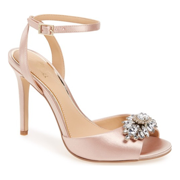 BADGLEY MISCHKA hayden embellished ankle strap sandal - A cluster of brilliant crystals kisses the toe strap of a...