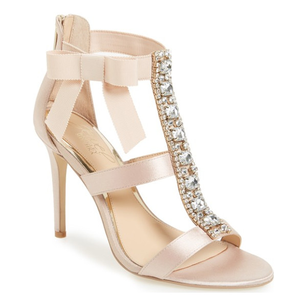BADGLEY MISCHKA henderson embellished bow sandal - A wide, crystal-finished T-strap adds indulgent detail to a