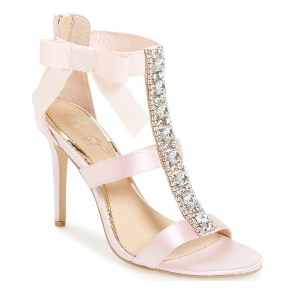 BADGLEY MISCHKA henderson embellished bow sandal - A wide, crystal-finished T-strap adds indulgent detail to a...