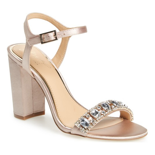 BADGLEY MISCHKA hendricks embellished block heel sandal - Oversized crystals adorn the toe strap of an event-ready...