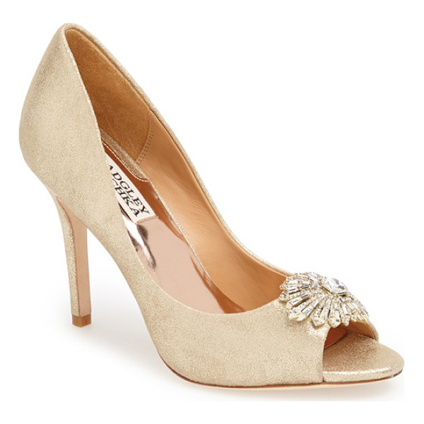 BADGLEY MISCHKA hollie pump - A sparkling crystal ornament accents the peep toe of an...
