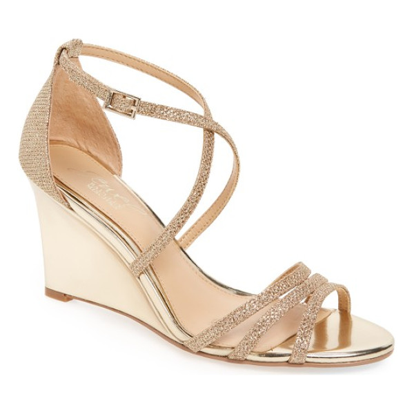 BADGLEY MISCHKA hunt glittery wedge sandal - Slender curving straps add shimmer and light to a glittery...