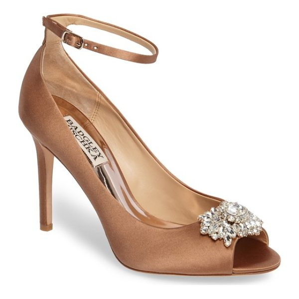 BADGLEY MISCHKA kali ankle strap pump - A twinkling crystal brooch crowns the open toe of a...