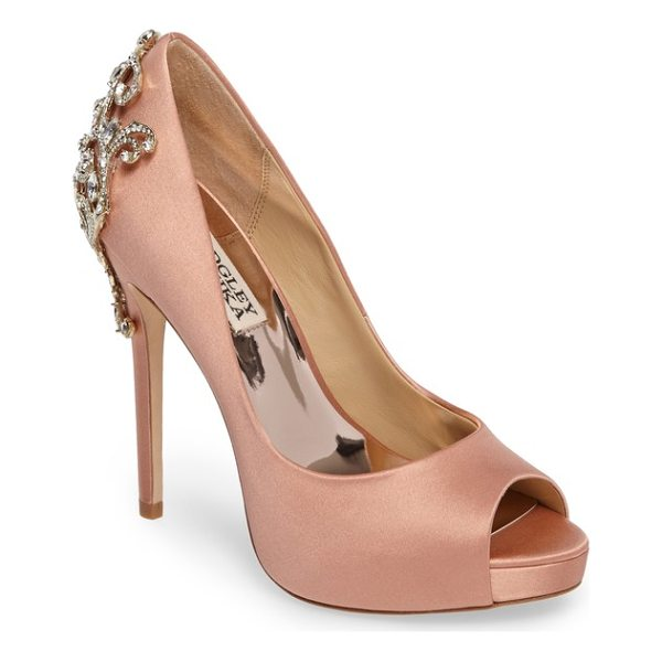 BADGLEY MISCHKA karolina embellished peep toe pump - A crystal-encrusted filigree brings stately elegance to the...