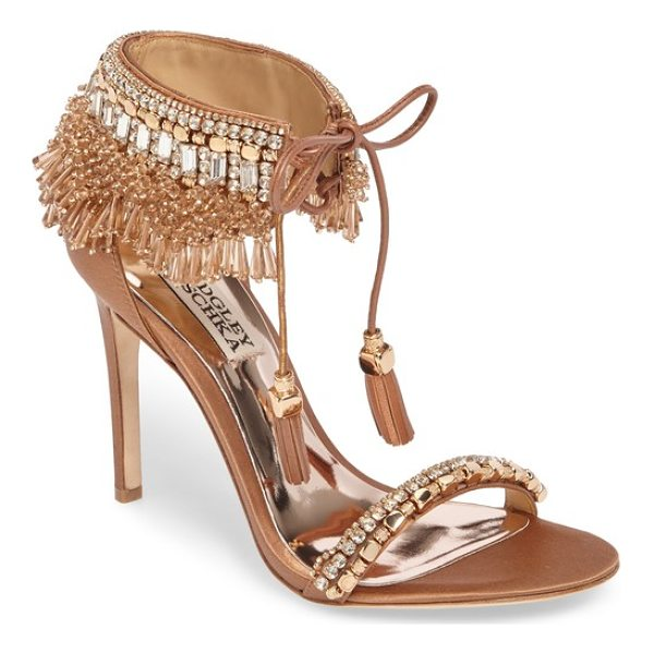 BADGLEY MISCHKA katrina embellished tie sandal - Luminescent beading, baguette crystals and gleaming...