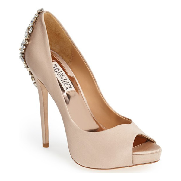 BADGLEY MISCHKA 'kiara' crystal back open toe pump - Indulge in decadence with this stunning platform pump. The...