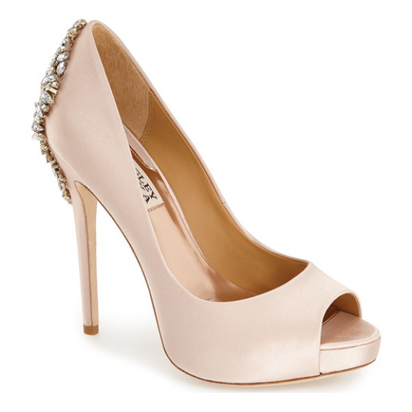 BADGLEY MISCHKA 'kiara' crystal back open toe pump - Indulge in decadence with this stunning platform pump. The