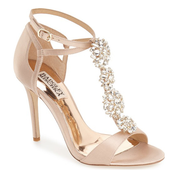 BADGLEY MISCHKA leigh embellished evening sandal - A dazzling quartet of crystal brooches dials up the glamour...