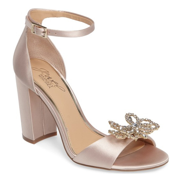 BADGLEY MISCHKA lex embellished block heel sandal - A bow-shaped brooch of layered crystals sparkles atop the...
