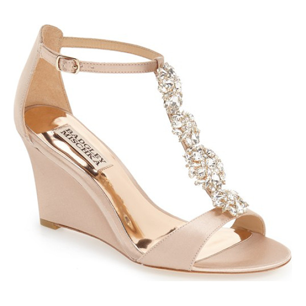 BADGLEY MISCHKA lovely embellished wedge sandal - A dazzling quartet of crystal brooches dials up the glamour...