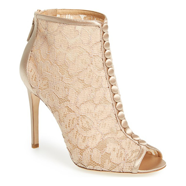 BADGLEY MISCHKA nerina lace bootie - A column of satin-wrapped faux buttons accents gorgeous...