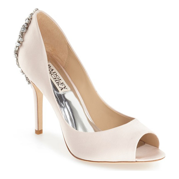 BADGLEY MISCHKA 'nilla' peep toe pump - An extravagant array of crystals crowns a shimmery satin