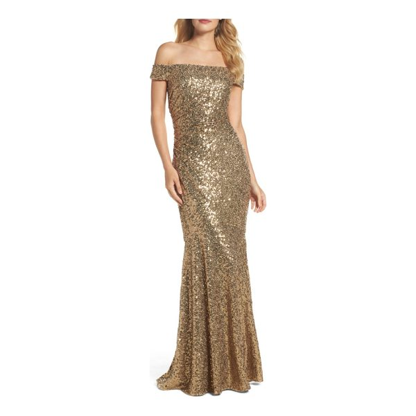 BADGLEY MISCHKA sequin off the shoulder mermaid gown - Blanketed in oodles of sparkling sequins, this mermaid gown...