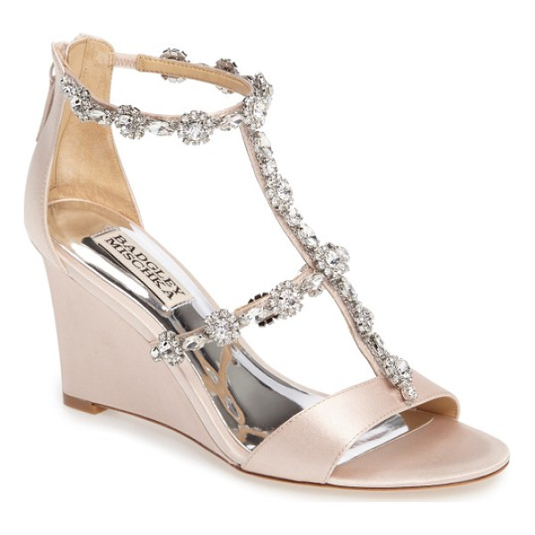 BADGLEY MISCHKA tabby embellished wedge sandal - Sparkling floral clusters and marquise crystals parade...