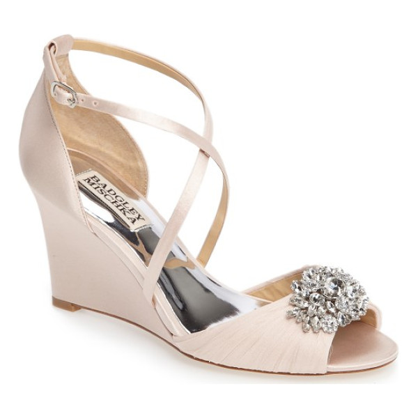 BADGLEY MISCHKA tacey embellished strappy wedge sandal - A dazzling crystal brooch electrifies the softly ruched toe...