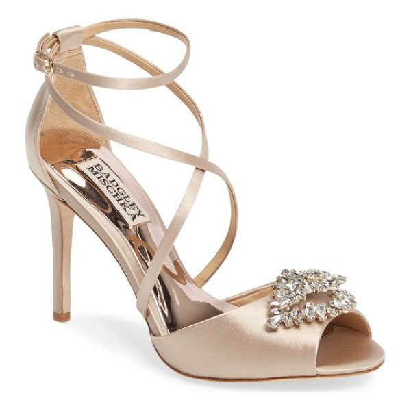 BADGLEY MISCHKA tatum embellished strappy sandal - A diamond-shaped brooch of clustered crystals adds shimmer...