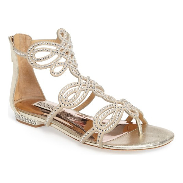 BADGLEY MISCHKA tempe embellished sandal - Intricate straps encrusted in crystals loop atop a leather