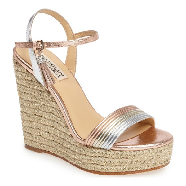 BADGLEY MISCHKA trace strappy platform wedge sandal - Towering layers of shimmery braided jute finesse an...