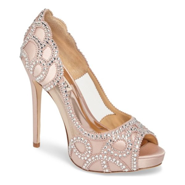 BADGLEY MISCHKA witney embellished peep toe pump - Sheer mesh insets show off your foot in a soaring...