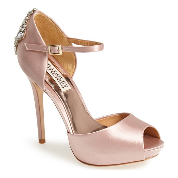 BADGLEY MISCHKA gene crystal back ankle strap pump - Nothing is as flattering as a shimmery satin pump with a...