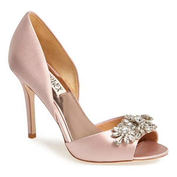 BADGLEY MISCHKA giana satin dorsay pump - A dazzling array of sparkling crystals catches the light on...