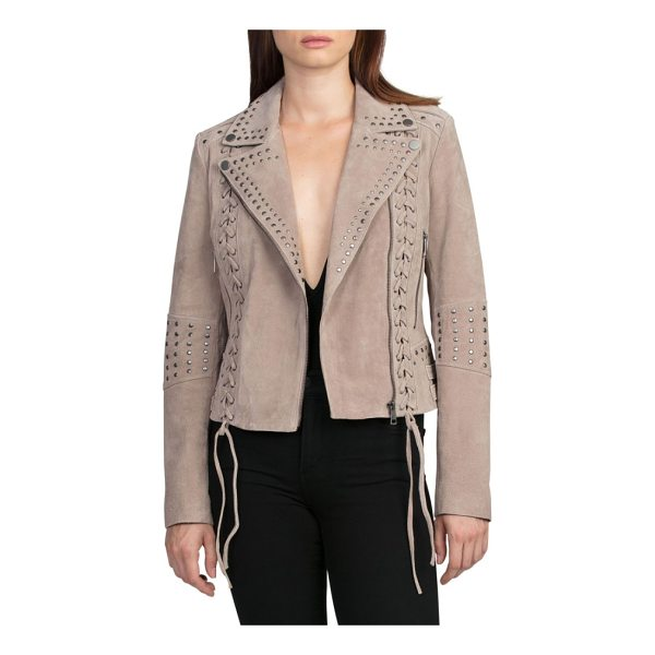 BAGATELLE bagatelle studded suede jacket - This fitted jacket's edgy elements, like laced princess...