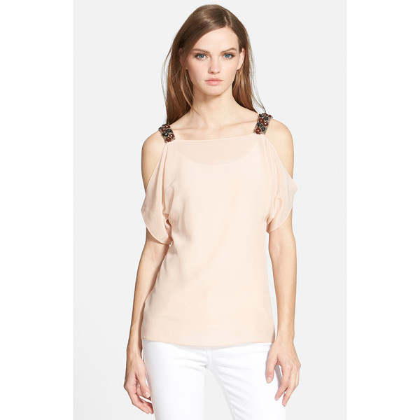 BAILEY 44 flame tip cold shoulder silk top - Rich, beaded shoulders create decadent contrast on a...
