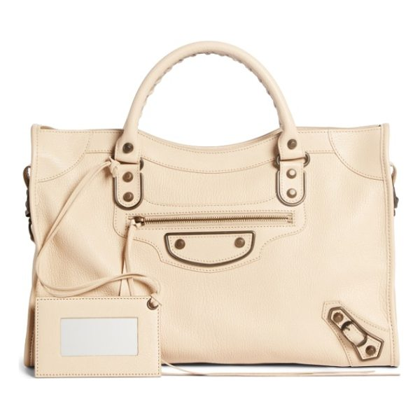 BALENCIAGA classic metallic edge city leather tote - Made from beautifully grained leather in a creamy hue, this...