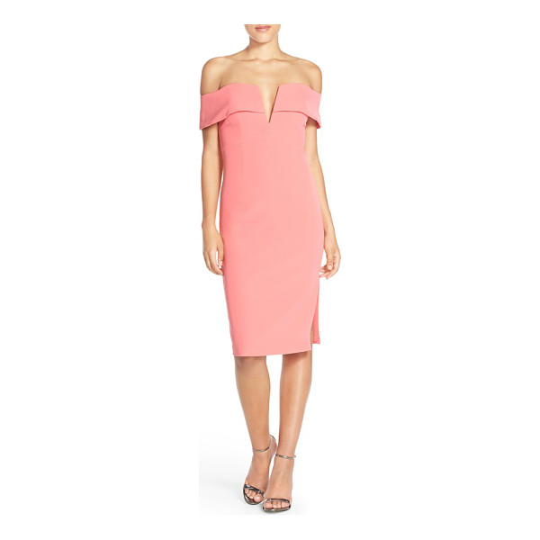 BARDOT candice crepe midi dress - This sheath's off-the-shoulder bodice is made all the more...