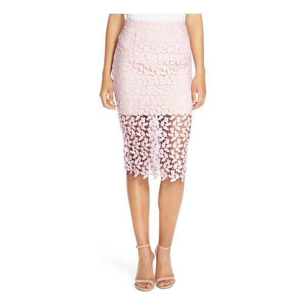 BARDOT flora lace pencil skirt - Leafy lace veils this curve-celebrating pencil skirt that...