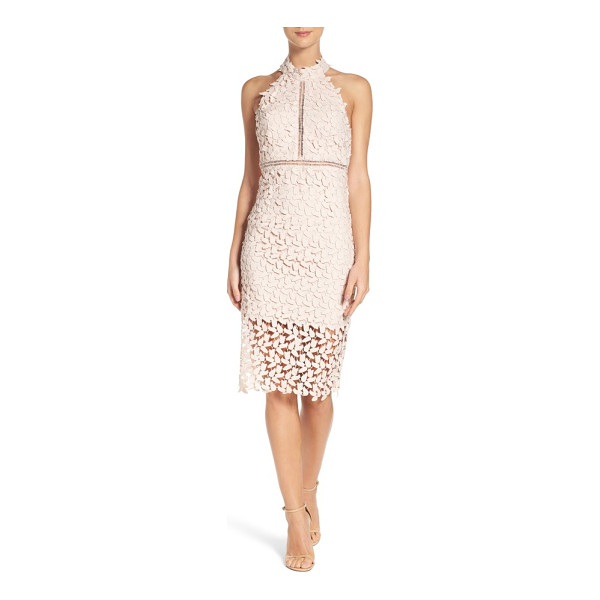 BARDOT gemma halter lace sheath dress - This leafy lace cocktail dress conceals and reveals with...