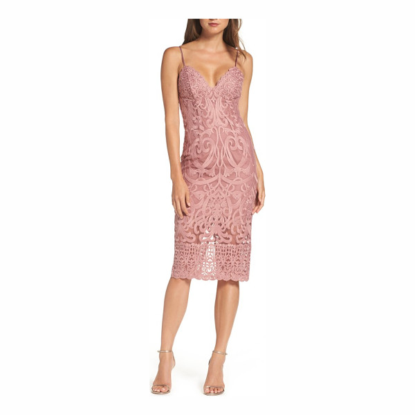 BARDOT gia lace pencil dress - Wow your date in this slinky, stretch-lace midi dress that...