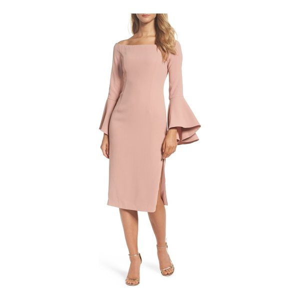 BARDOT 'solange' off the shoulder midi dress - An off-the-shoulder neck tops this chic cocktail dress...