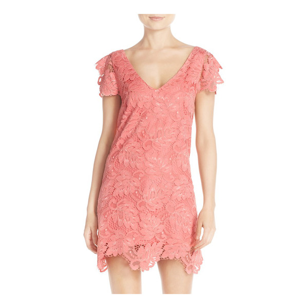 BB DAKOTA jacqueline lace shift dress - Fluttery sleeves and a scalloped hem highlight the...