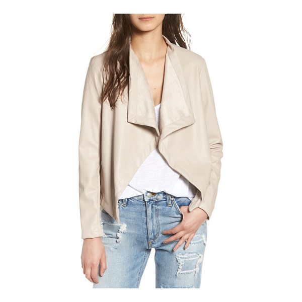 BB DAKOTA 'peppin' drape front faux leather jacket - Sleek draped lapels lend a city-dweller vibe to this...