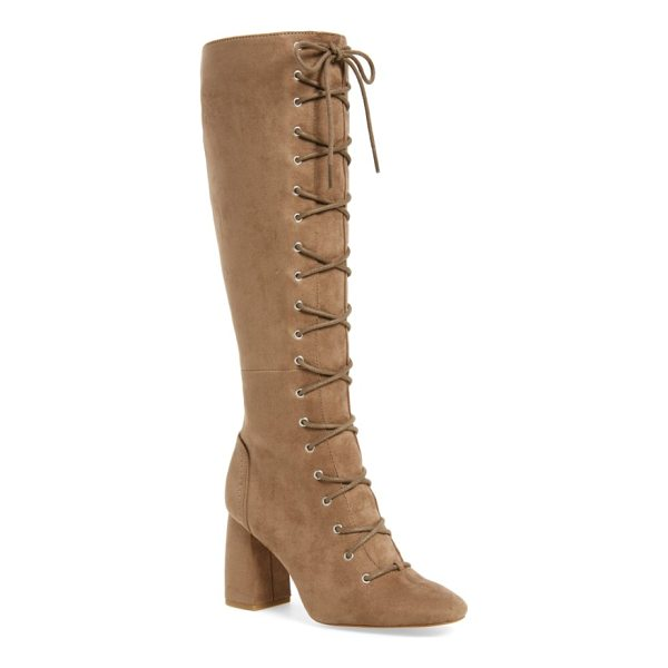 BCBG addison boot - Slim laces cinch a soaring tall boot fashioned from velvety...