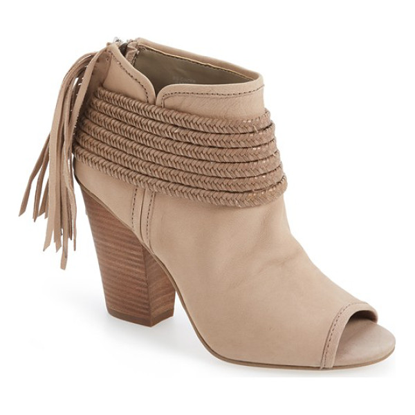 BCBGENERATION 'cinder' block heel bootie - Braided straps and trailing fringe amplify the rustic