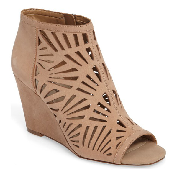 BCBGENERATION speranza peep toe wedge bootie - Geometric cutouts intensify the modern allure of a peep-toe...