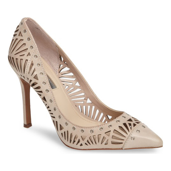 BCBGENERATION tomasa perforated pump - Intricate geometric perforations define this capped...
