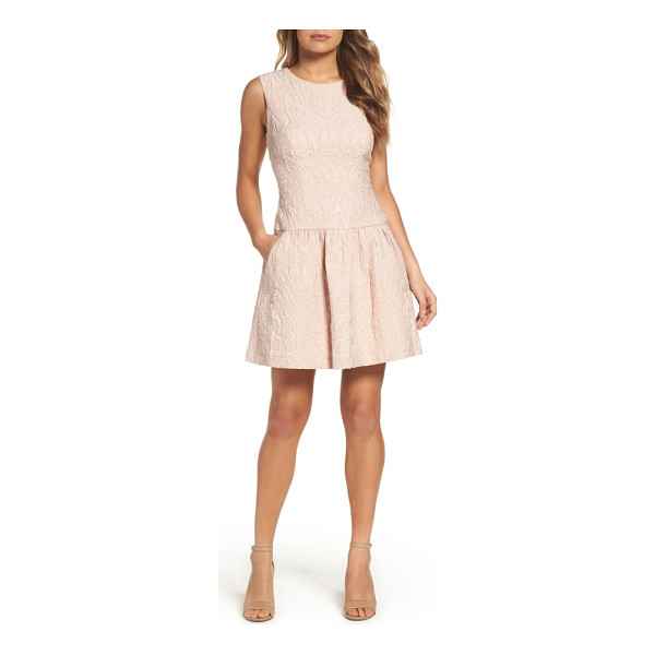 BCBGMAXAZRIA ashlie fit & flare dress - A soft, pastel shimmer brings out the textured brocade...