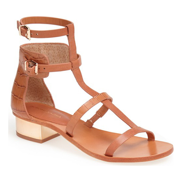 BCBGMAXAZRIA cross t-strap sandal - Crocodile-embossed vachetta leather styles the heel of a...