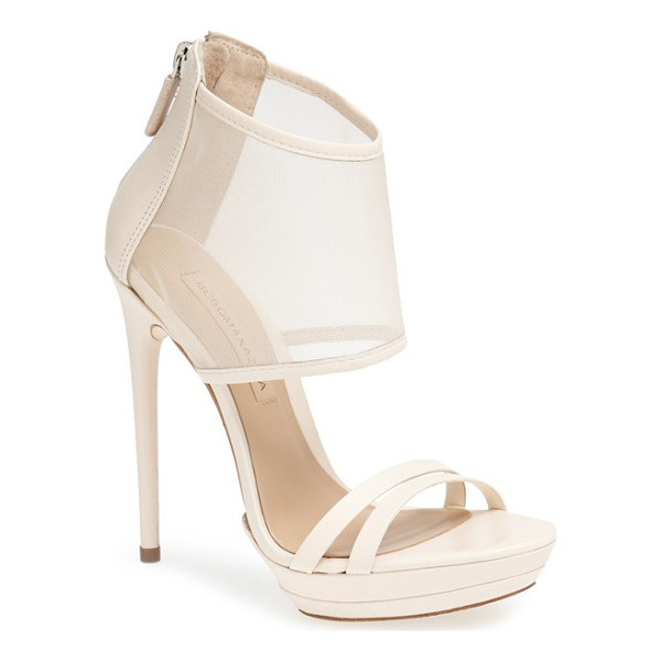 BCBGMAXAZRIA ferned mesh ankle cuff sandal - A breezy mesh cuff updates the look of a sky-high sandal...